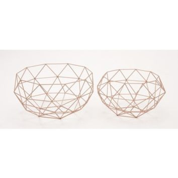 Metal Set of Two Baskets Storage Accessory - 18351912 - Overstock - Great Deals on Benzara Baskets & Bowls - Mobile