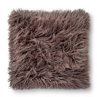 "Gray Mongolian Faux Fur Throw Pillow 18""x18"" - Xhilaration™"