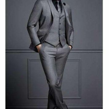 DCCKON3 tailor made grey formal men suit slim fit blazer masculino business marriage blazer custom style prom tuxedo 3 piece terno