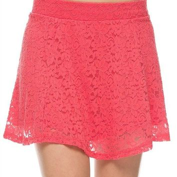 Cute Floral Print Flare A-Line Lace Skater Mini Flirty Skirt with Lining