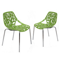Green Tree Cucoloris Design Modern Dining Chairs with Chrome Legs (Set of Two)