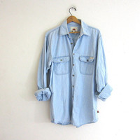 20% OFF SALE vintage denim jean shirt. light wash button down shirt. oversized denim boyfriend shirt