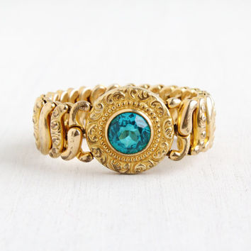Vintage Blue Glass Expansion Bracelet- Mid Century WWII 1940s Gold Filled Pitman & Keeler American Queen Stretch Sweetheart Jewelry