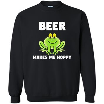 "Funny 'Beer Makes Me Hoppy"" Frog T-Shirt Printed Crewneck Pullover Sweatshirt"