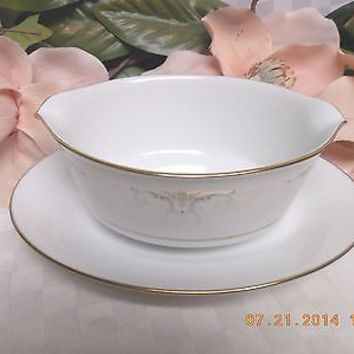 Noritake China Dinnerware Japan  Glendola Pattern #: 2220 Gravy boat w/attached