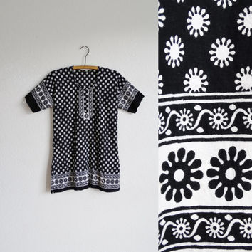 vintage sun print cotton dress - daisy flower floral pattern - black white - sundress mini - boho bohemian hippie - women small xs s