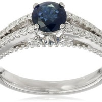 14k White Gold Blue Sapphire Center Diamond Engagement Ring (1/4 cttw, H-I Color, I1-I2 Clarity), Size 8