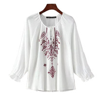 Vintage Embroidery Autumn Women Blouses Front Lace Up O-neck Long Sleeve White Blouse Shirt Ladies Tops blusa mujer SHCY1029S8