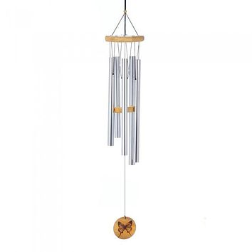 Aluminum Wind Chimes with Butterfly Ornament - 36 inches