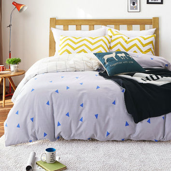 100%Cotton Nordic Style Bedding Set 4pcs Quilt Cover White And Blue Geometric Duvet Cover Queen Pillow Case bed linens bedclothe