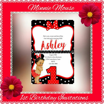 Minnie Mouse Red and White Polka Dot 1st Birthday Invitations Digital