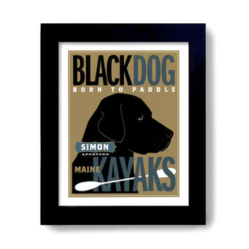 Black Lab Retriever Kayak Labrador Art Dog Art Print Personalized