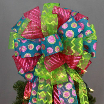 Turquoise Sparkle Dot Christmas Tree Topper Bow