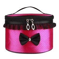 Promotions nylon makeup bag drums bow makeup handbags storage handbag cosmetic bag pouch portable travel tote