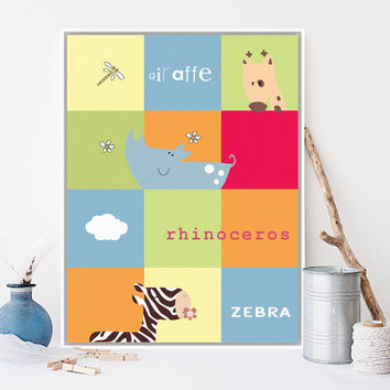 Colorful Animal Giraffe Rhinoceros Zebra Canvas A4 Large Art Print Poster Nursery Wall Picture Kids Room Decor Painting No Frame