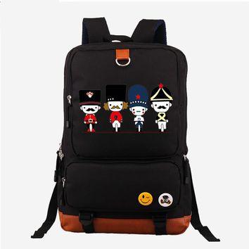 2017 New Kawaii British style Cartoon English soldiers Printing Mochila Backpack Laptop Bags Canvas School Bags for Teenagers