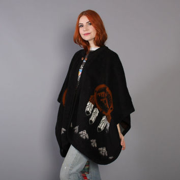 80s BLACK Knit PONCHO / Native American Inspired Eagle Feather Dreamcatcher CAPE