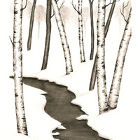 """Winter Landscape Painting, Original Watercolor Forest Painting, Winter Forest Art, Winter Trees, Snow, Black and White Watercolor 10"""" X 8"""""""