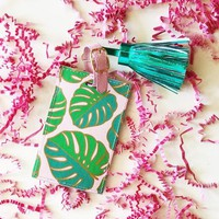 Slant Collection Resort Luggage Tag - Monstera Leaves