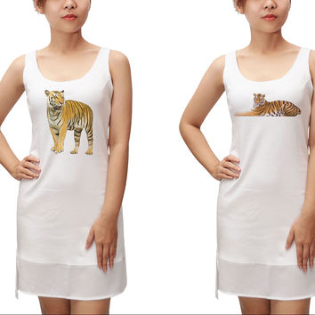 Women Tiger Printed 100% Cotton Fit Sporty Tank Tunic Hi-low Dress WDS_13