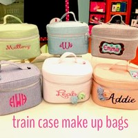 Seersucker Train Makeup case