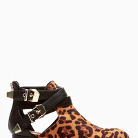 Dollhouse Plated Allison Leopard Ankle Booties