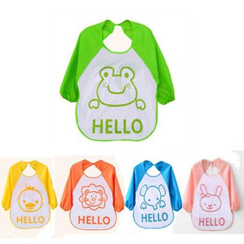 Kids Child Cartoon Translucent Plastic Soft Baby Waterproof Bibs Infants Art Smock Apron Clothing for 0-1 Years Old Baby #YL