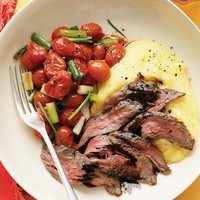 Recipes to Try / Balsamic Skirt Steak with Polenta and Roasted Tomatoes