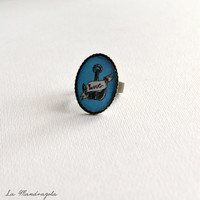 Grey Anchor love vintage tattoo cameo ring original artwork. Adjustable ring