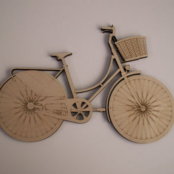 Bicycle Wood Shapes, Laser Cut, Bicycle Wall Art, Home Decor, Wreath Embellishment, Door Hangers, Ready to Paint Wood Shapes