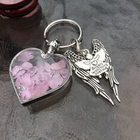 Rose Quartz Wishing Bottle,Pretty Wings, Angels Watching Over Me Charm Keyring/ Keychain with FREE Bag & Angel Message Card. Love Crystal.
