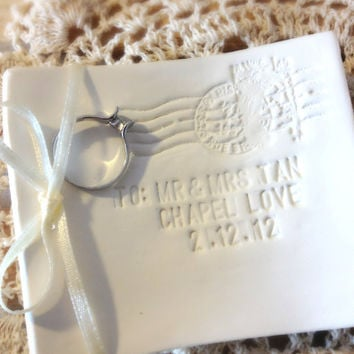 CUSTOM-  Love Note Delivery Wedding Ring Bearer Bowl  with Vows & Location of Ceremony, Custom Ring Holder Dish handmade