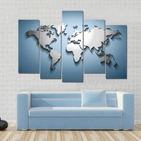 Beautiful Embossed World Map Multi Panel Canvas Wall Art