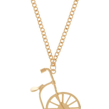 Cute Necklace Pendant Bycicle Art Bicycle Charm Neckalce  Gold Necklace Pretty  Jewelry Graduation Gift - By PiYOYO  S45074