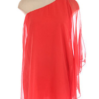 One Shoulder Drape Open Shoulder Chiffon Dress by Shop Baby Doll