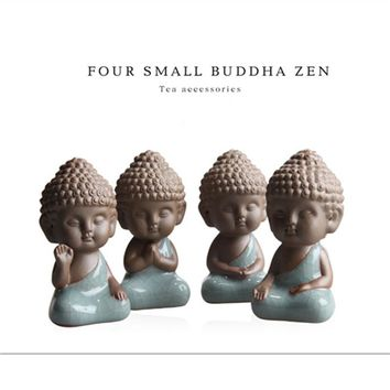2 pcs 4pcs Buddha statues tea pet ornaments boutique decoration Buddhism monk buddhist home decor figurines statue figure rones