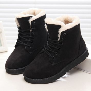Women Winter Boots Suede Women Shoes Snow Boots Lace-Up Shoes Botas Mujer Black