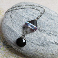 Onyx Oxidized Sterling Silver Necklace, Black Diamond Lampwork Glass Pendant, Rustic Jewelry