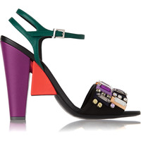 Fendi - Fantasia embellished satin and leather sandals