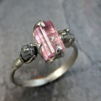 Raw Pink Tourmaline Diamond 14k white Gold Engagement Ring Wedding Ring One Of a Kind Gemstone Ring Bespoke Three stone Ring byAngeline