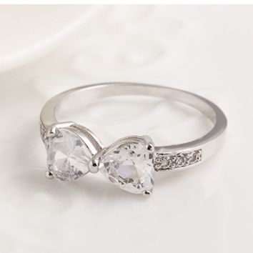Simple ring crystal ring bow ring peach heart on the diamond ring