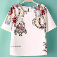 White Short Sleeve Floral Cropped Blouse
