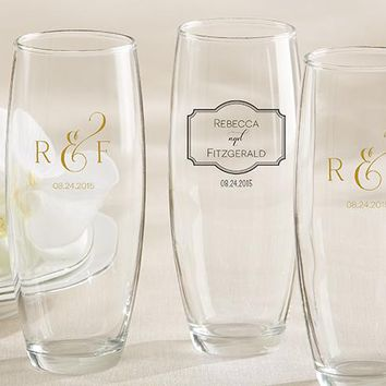 Personalized 9 oz. Stemless Champagne Glass - Classic