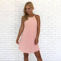Pleated in Pink Shift Dress