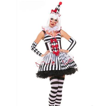 Girls Harley Quinn Costumes Womens Harlequin Fancy Dress Clown TUTU Circus Party Gown Cosplay Joker Clothing Halloween Costume