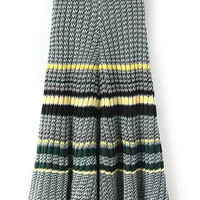 Black Zigzag Print A-Line Pleated Knit Maxi Skirt