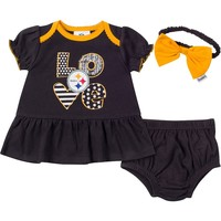 Pittsburgh Steelers 3-Piece Dress, Panty and Headband Set - Baby Girl, Size: