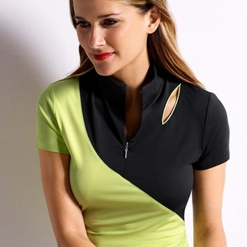 EP New York Ladies & Plus Size Cap Sleeve Cut Out Polo Golf Shirts - Culture Clash (Celery Multi)