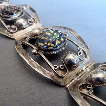 Vintage Taxco Bracelet Sterling Silver Opal Art Glass Statement Bracelet Gift for Her