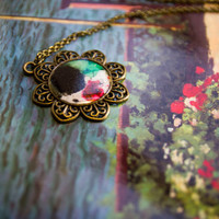 Flower necklace with one of a kind hand painted artwork